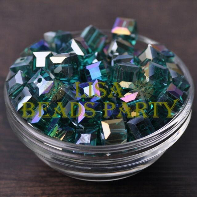 New 10pcs 10mm Cube Square Crystal Glass Loose Spacer Beads Peacock Green AB