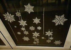 SNOWY-Glitter-Finestra-Adesivi-Natale-Snow-Flake-Home-Decoration-Fiocchi-di-neve