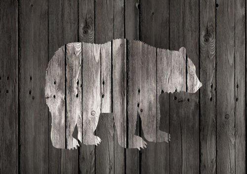 Lodge Bear on Black 16x12 Print Poster Home Decor by Claudia Schoen