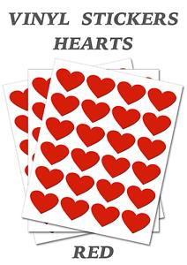 Self Adhesive Waterproof Vinyl Labels  size 25mm 50 Red  Heart Shape