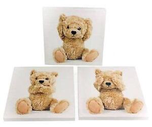 Children-039-s-lot-de-3-teddy-bear-toile-photos-baby-kids-nursery-room-wall-art