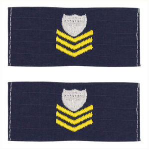 RIPSTOP FABRIC Vanguard COAST GUARD EMBROIDERED COLLAR DEVICE E6 PETTY OFFICER