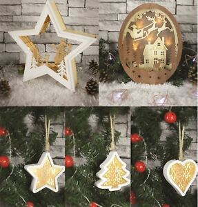 Details About Wooden Led Light Up Christmas Tree Decor Star Ornament Table Window Decorations