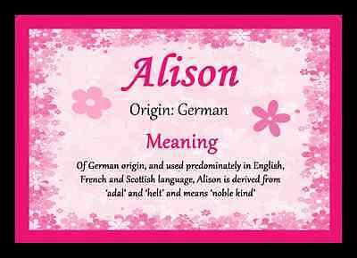 Alison Personalizzata Nome Significato Placemat- E Avere Una Lunga Vita