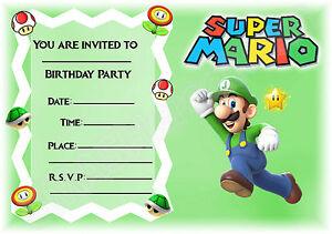 A5 NINTENDO SUPER MARIO CHILDRENS PARTY INVITATIONS X 12 LUIGI