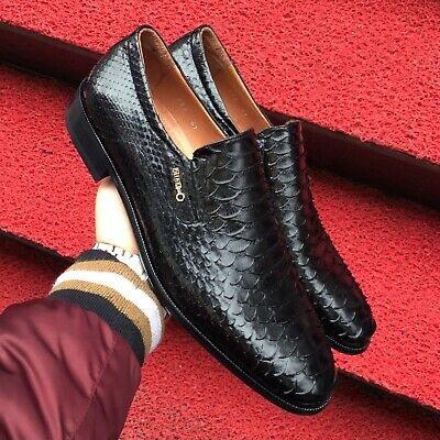 100% quality discount for sale rich and magnificent Zilli Real Python Leather Black Loafers Exotic Skin Handmade Dress Shoes  For Men | eBay