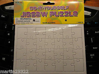 """Rectangle Blank Puzzle DIY Jigsaw, 28 Pcs. 6-3/4"""" X 4-3/4"""" X 3/64"""" Pack of 6"""