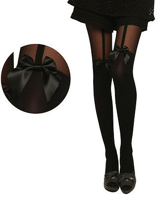 New Fashion Lady Sexy Stockings Pantyhose Tattoo Mock Bow Suspender Sheer Tights