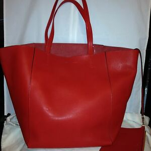 Celine Phantom Cabas Large Red Leather Tote Shopping Bag Shopper w ...