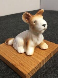 Vintage-Figurine-Porcelain-Scottish-Terrier-Brown-White-3-Tall-4-Long-NICE