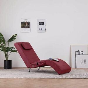 Détails sur Chaise longue de massage avec oreiller Rouge bordeaux Similicuir