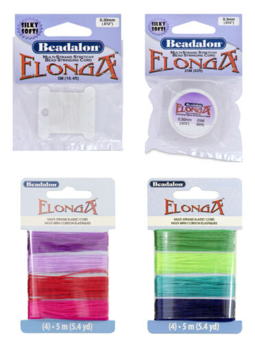 Choose Color /& Diameter Beadalon® Elonga™ Multi-Strand Stretchy Cord