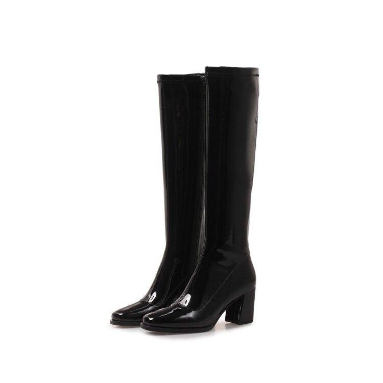 Modisch Stiefel Lila Blau Damen Kniehohe Stiefel Modisch Lackleder Blockabsatz zip Stiefel 42 43 6cd647