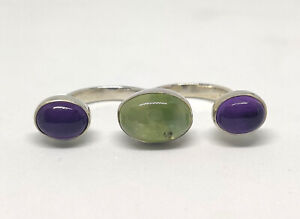 925-Sterling-Silver-Natural-Prehnite-Amethyst-Two-Finger-Oval-Ring-Size-Adj-5