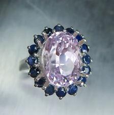 5.70cts Natural Rosa Kunzita (Spodumene) y Zafiros 925 Sterling Silver Ring