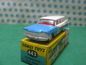 Vintage-PLYMOUTH-Suburban-U-S-Mail-1-43-Corgi-toys-443-Made-in-Gt-Britain