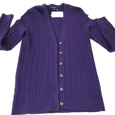 New LANDS' END Cable Knit Cardigan Sweater Small S 6 8 Gold Buttons Purple NWT | eBay