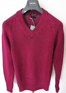 1170-TOM-FORD-Pink-Slim-Fit-Cable-Knit-Thick-Cotton-V-Neck-Sweater-Size-XL