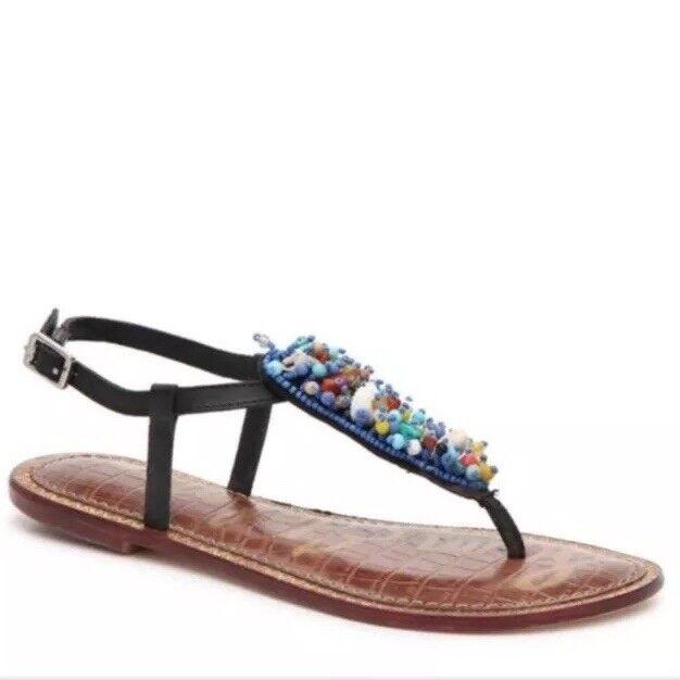 Sam Edelman Womens Sandals Size 6.5 Black Gabrielle Multicolor Beaded Thongs