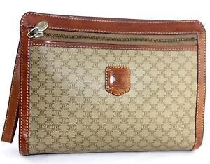Auth Celine Paris Beige PVC Canvas   Brown Leather Clutch Bag Purse ... 3d10751600c83