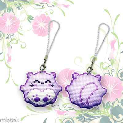 """$ Traditional counted cross stitch kits-Phone strap """"Smile Bear"""" 2--Purple"""