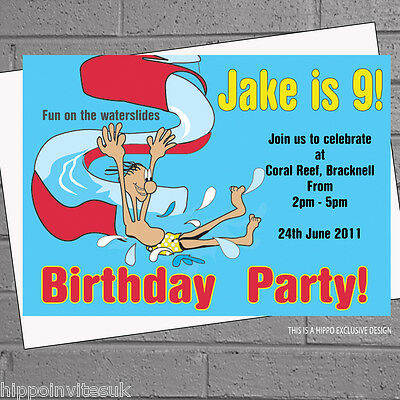 12 X Pool Party Invitations Swimming Birthday Boys Girls Inflatables