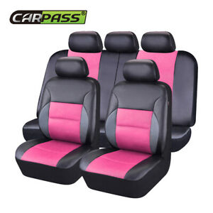 CAR-PASS-11PCS-Pink-Color-Sandwich-Leather-Car-Seat-Covers-for-40-60-60-40-50-50