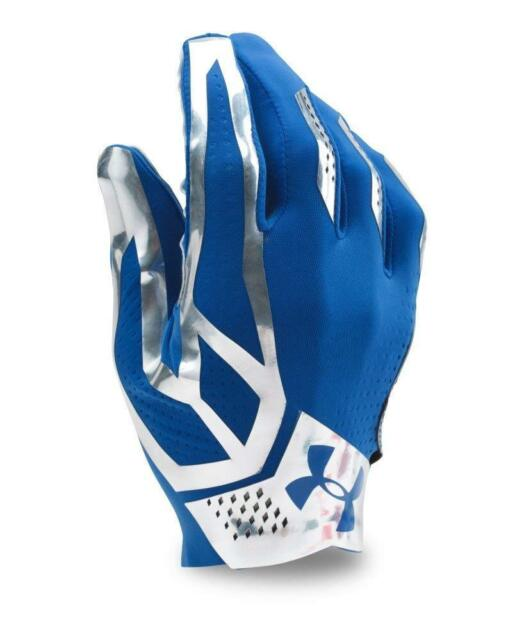 f0004469f823d Under Armour Men's UA Spotlight Football Gloves Large Royal Blue Silver New