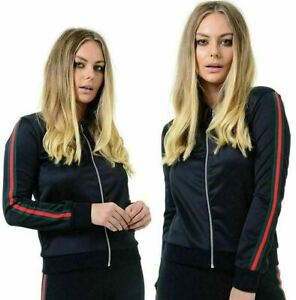 Womens-Ladies-Red-Green-Bomber-jacket-Striped-Zip-Up-Long-Sleeve-Biker-UK-8-14