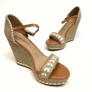ANTONIO-MELANI-Sandals-Platform-Wedge-Woven-Womens-Sz-9-5M-Buckle-Beige-NWOB