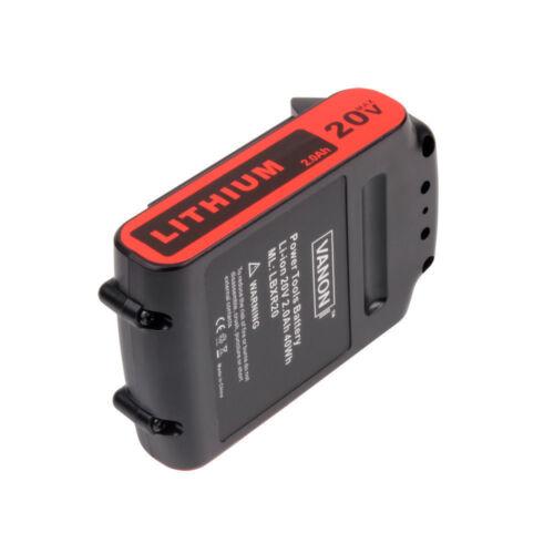 LBXR20 2.0Ah for Black /&Decker 20V Battery Li-ion Max LB20 LBX20 LST220 LBXR2020