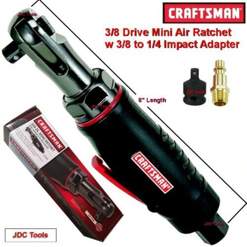 CRAFTSMAN 3//8 DRIVE MINI AIR RATCHET WRENCH  w 3//8 to 1//4 Impact Adapter 1//4
