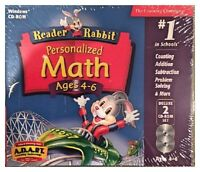 Reader Rabbit Personalized Math Ages 4 - 6 (pc) Brand Sealed - 2 Cds - Nice