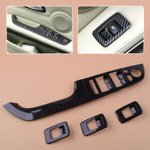 Suuonee Window Lifter Switch Button Cover,ABS Window Lifter Switch Frame Cover Trim Sticker Fits for E90 3 Series 2005-2012