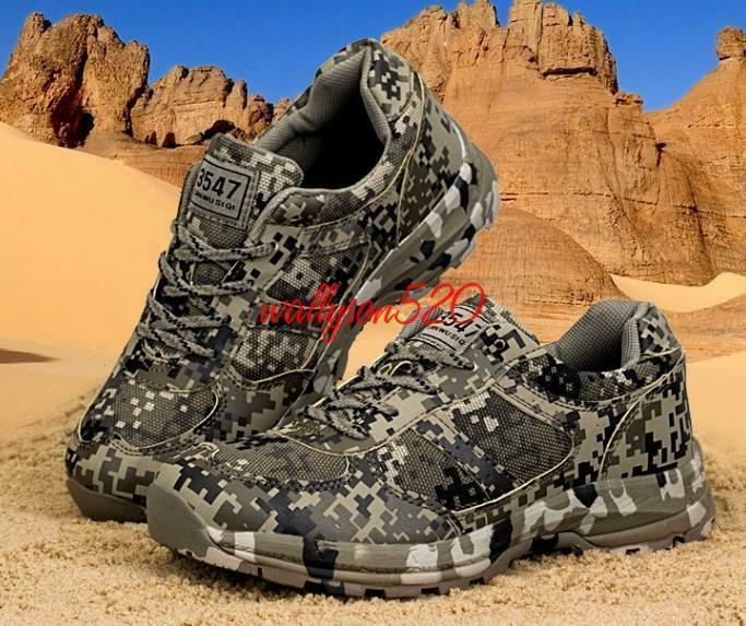 Fashion Mens lace up Military Hiking Running Camo Trainer shoes Sneakers