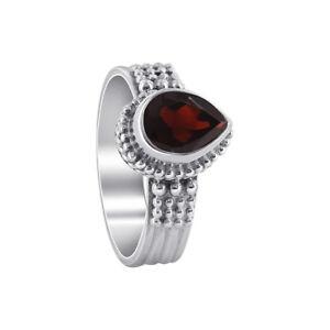 925-Sterling-Silver-Pear-Shape-Garnet-Gemstone-Solitaire-Ring