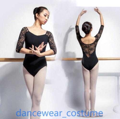 New Ladies Cotton /& Lace Ballet Leotard Women/'s Dance Gymnastics Leotards Black