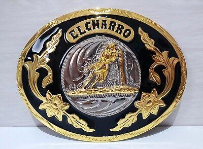 (el Charro) Fibbia In Acciaio Forma Ovale (8 X 10,5) Cintura Anni 80 (paninaro)