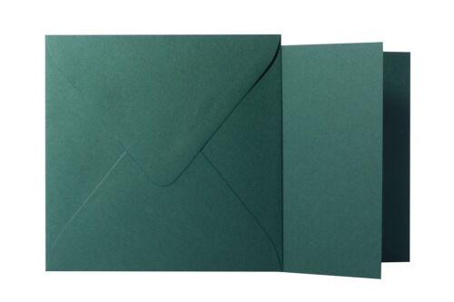 25x Briefumschläge 15x15 cm Klappkarten quadratisch Tannengrün 15,5x15,5 cm