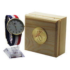 PERSONALISIERT GESTREIFTER Armbanduhr Luxus Kostenlose Gravur Unisex Holz Kiste