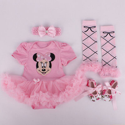 Infant Newborn Baby Girls Headband+Romper+Leg Warmers+Shoes Pink Minnie Sets
