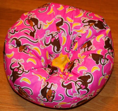 N larger Pink with Monkeys handmade bean bag chair fits American Girl size dolls