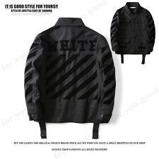 High Quality Off White C/O Virgil Abloh Black Stripe Shirt Jacket Coat Sweats