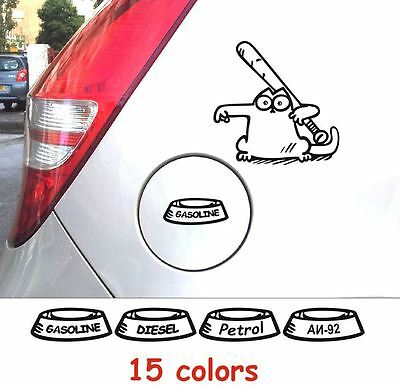 Funny Simons Cat #5 Big Decals Stickers Gas Fuel Tank Cap Cover Graphics Car A