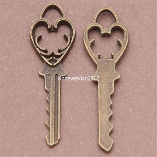 15pc Antique Bronze Charms key Pendant Accessories Bead wholesale PL381