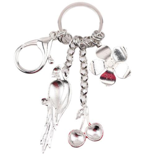 Émail alliage perroquet Cherry Flower key chain Ring Pour Femmes Sac à Main Charm cadeaux