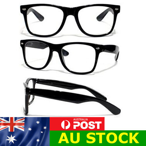 Classic Wayfare Glasses with Black Frame / Clear Lens Retro Nerd FREE POST