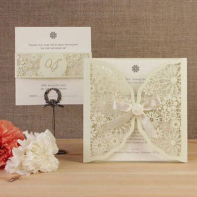 Daisies and Summer Flowers Laser Cut Wedding Invitation Set, Handmade - Sample