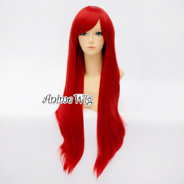 Lolita Halloween Red 80cm Wavy Heat Resistant Anime Cosplay Hair Party Wig + Cap