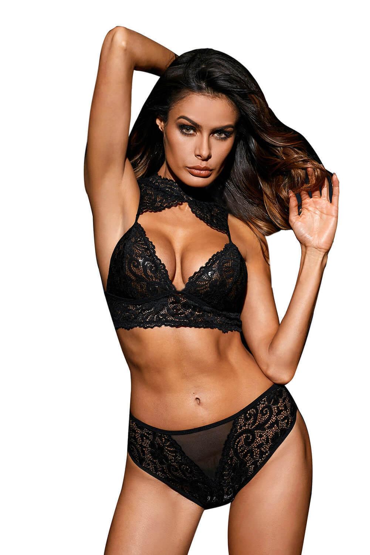 9c5d353ea0 Details about Sexy Black Lace Choker Cut Out Bralette Lingerie Bra Underwear  Set Comfy S M L